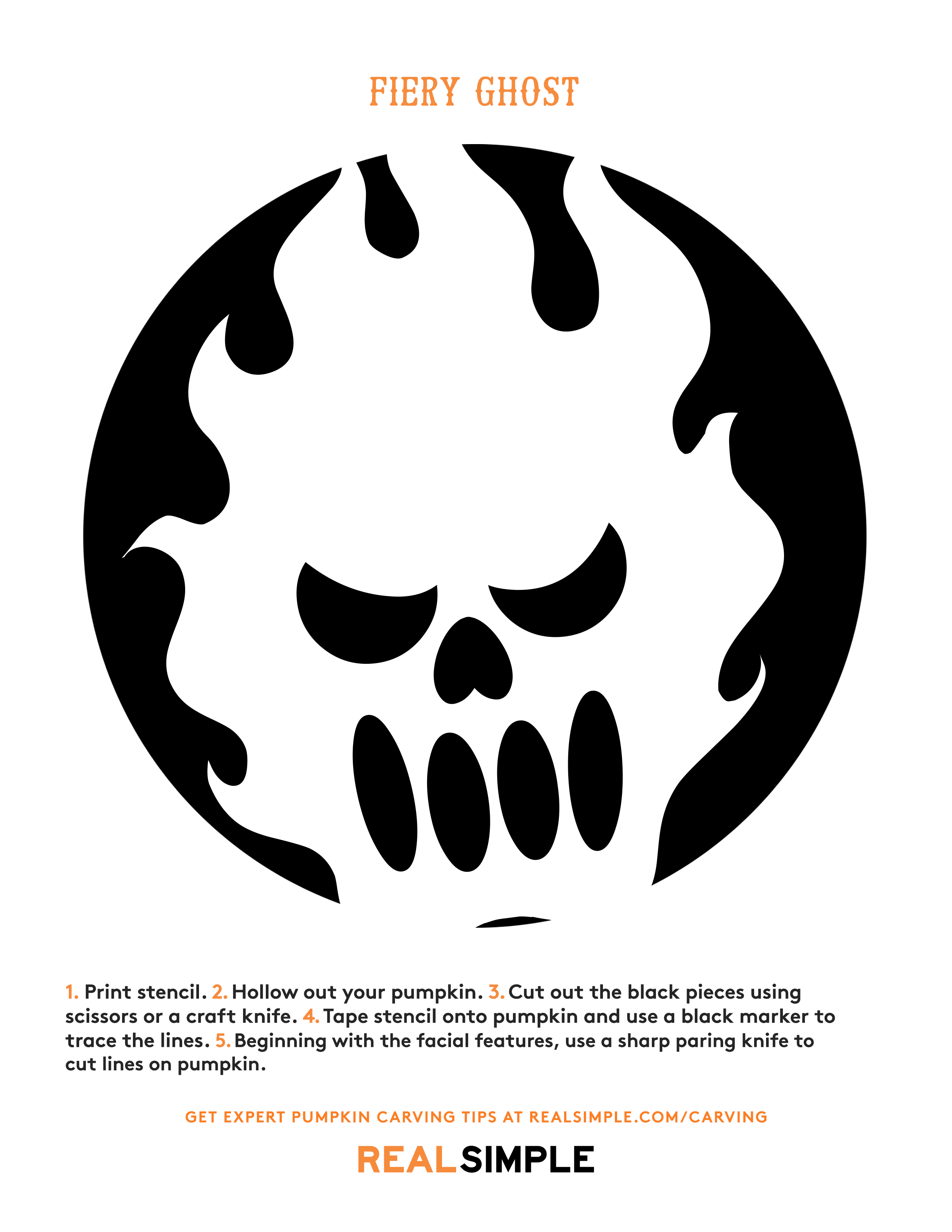 Pumpkin carving stencil - fiery ghost template print-out
