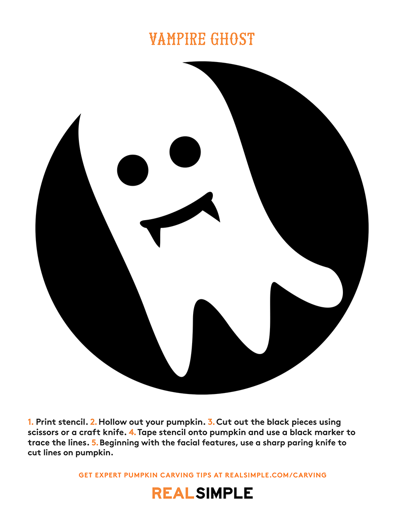 Pumpkin carving stencil - vampire ghost template print-out