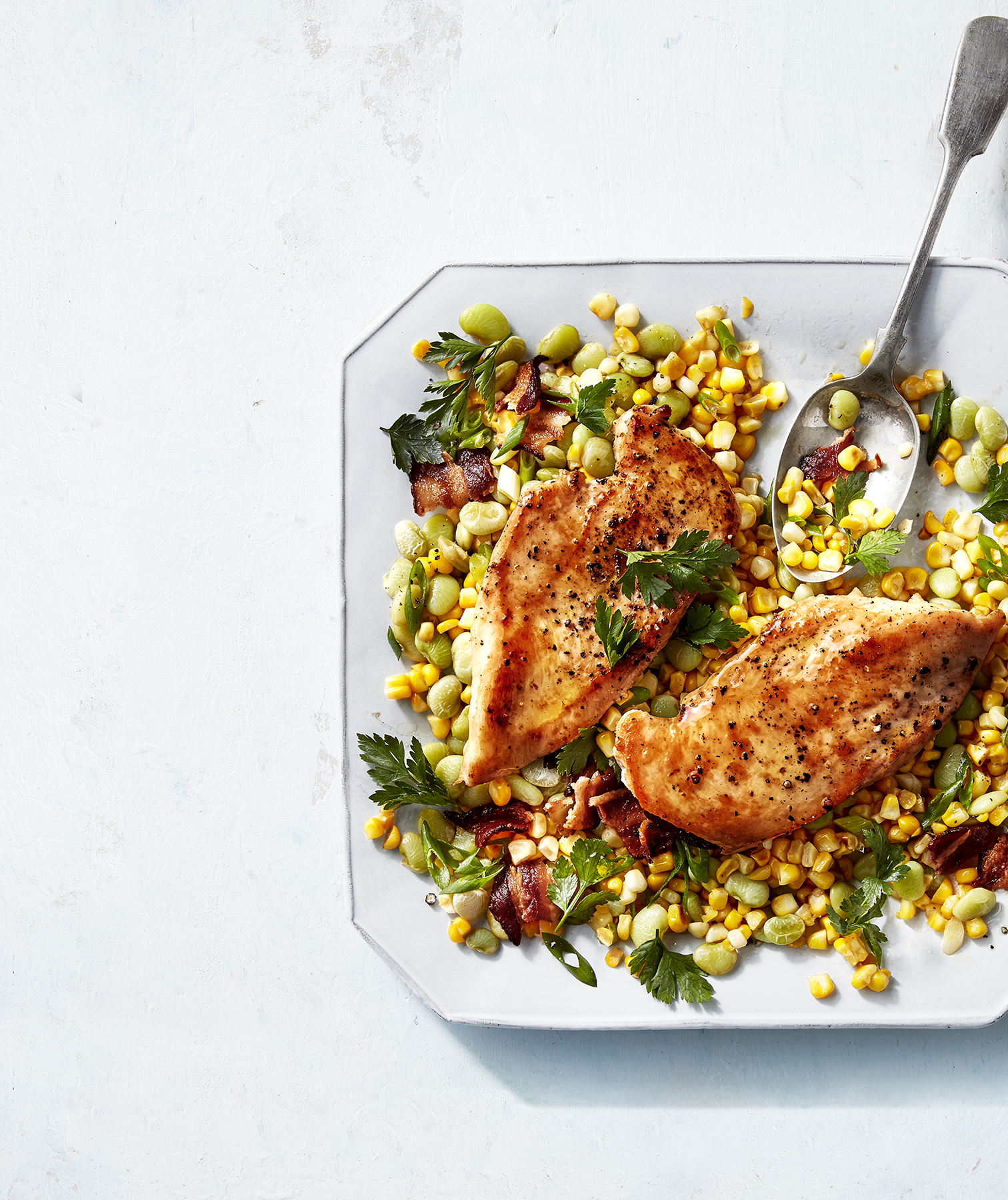 Pan-Seared Chicken Cutlets With Summer Corn Succotash