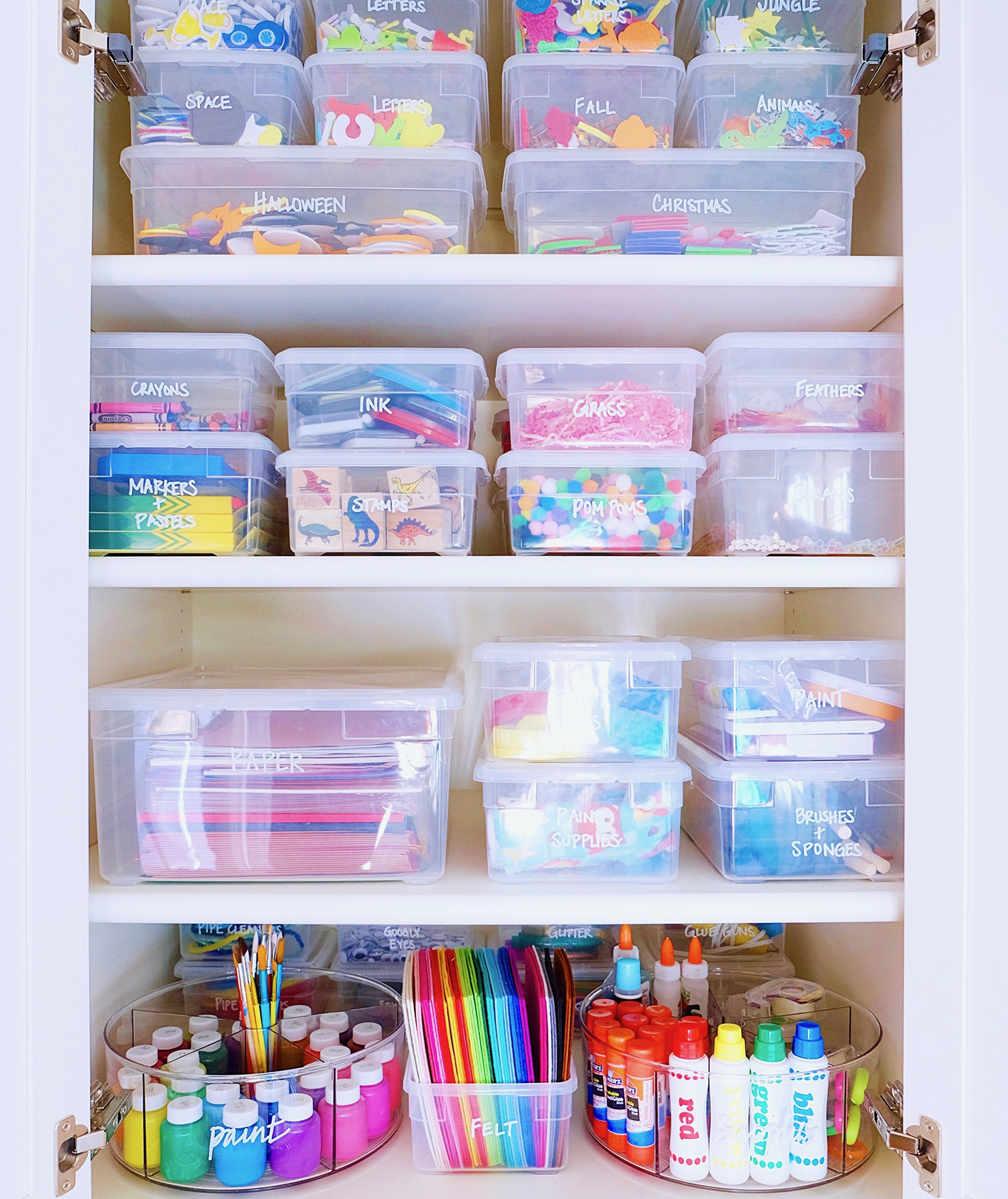 Shelves with art and craft supplies