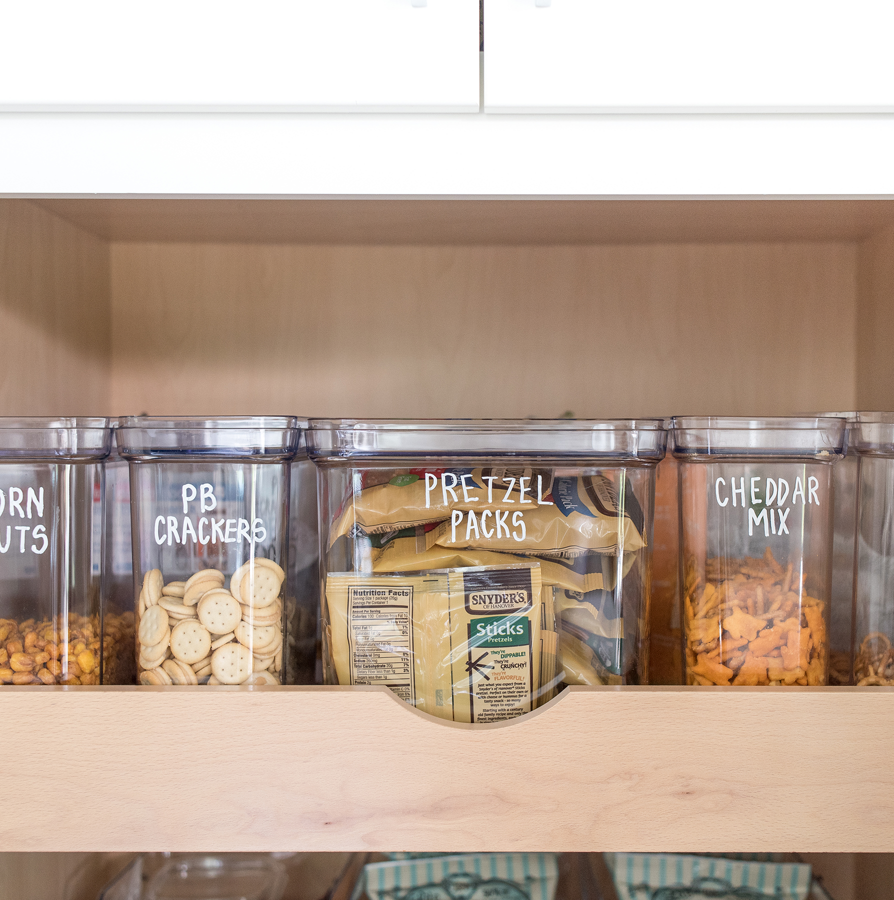 Pantry with clear bins