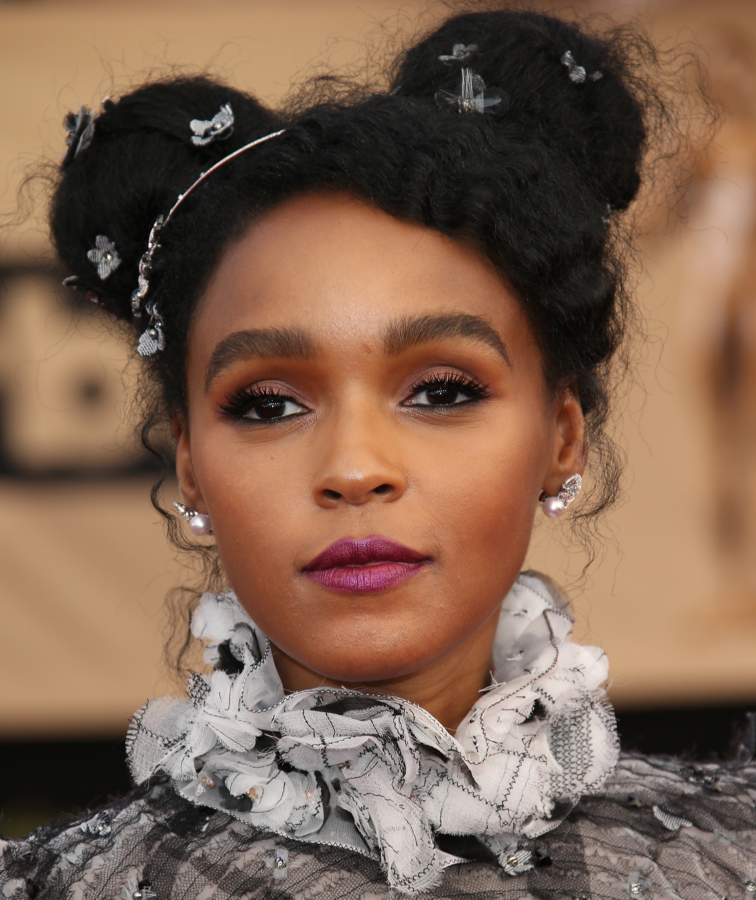 Janelle Monae with space buns