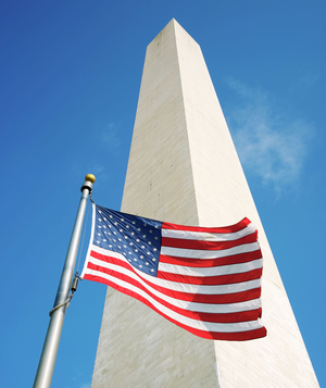 American flag in front of Washington Monument