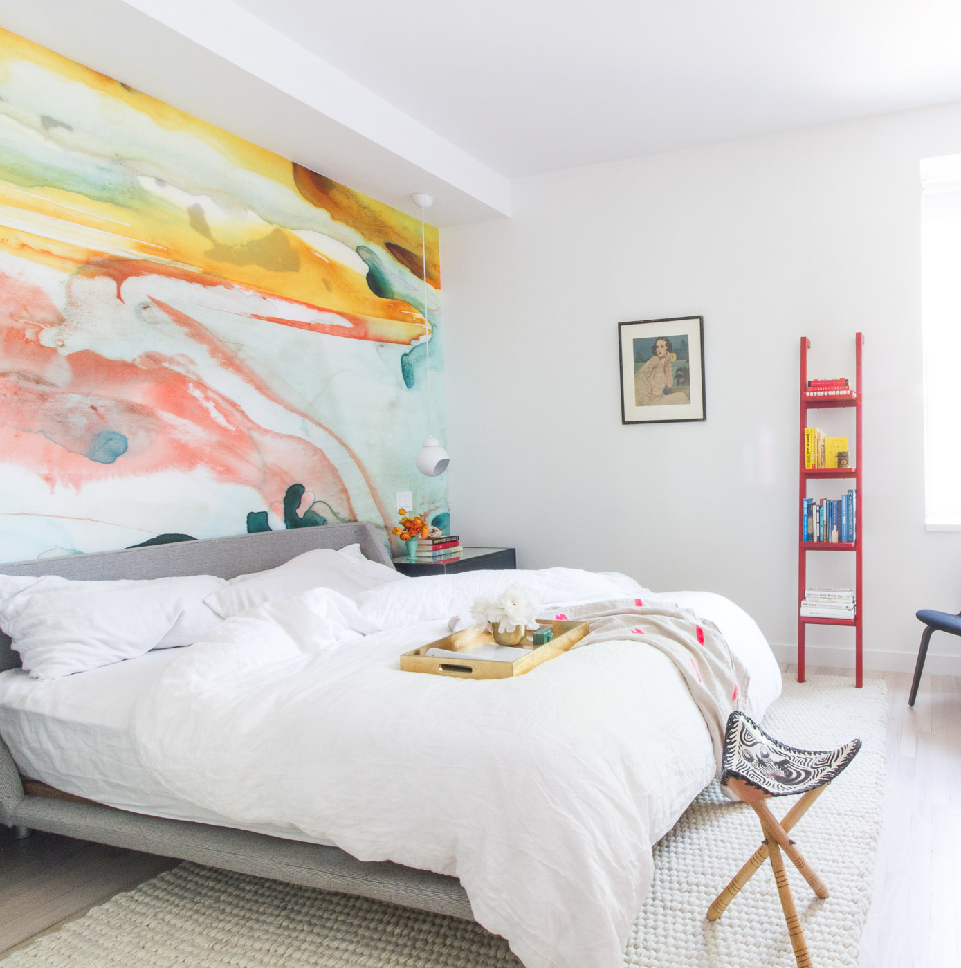Bedroom with Pops of Color