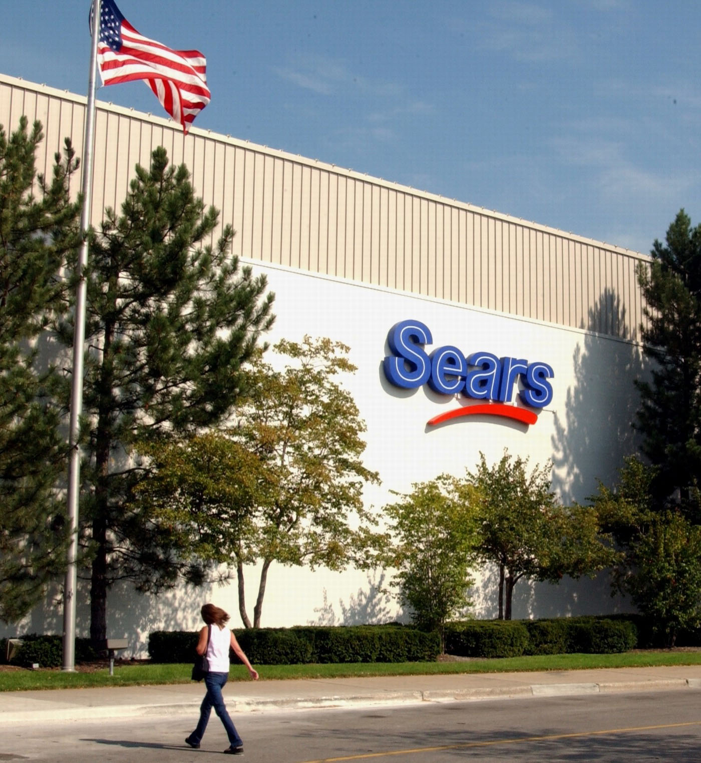 Sears exterior with American Flag