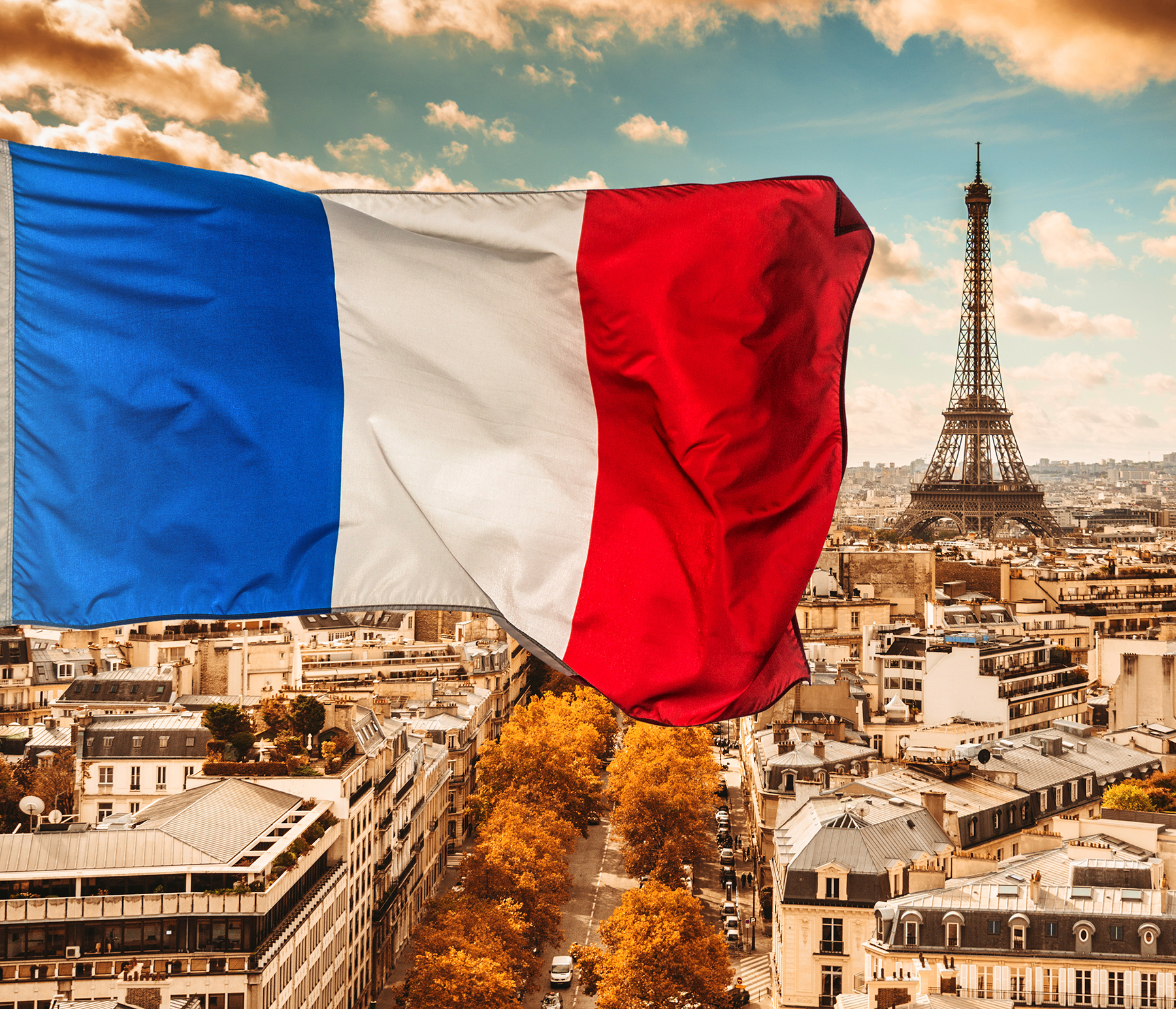 Paris Skyline With French Flag