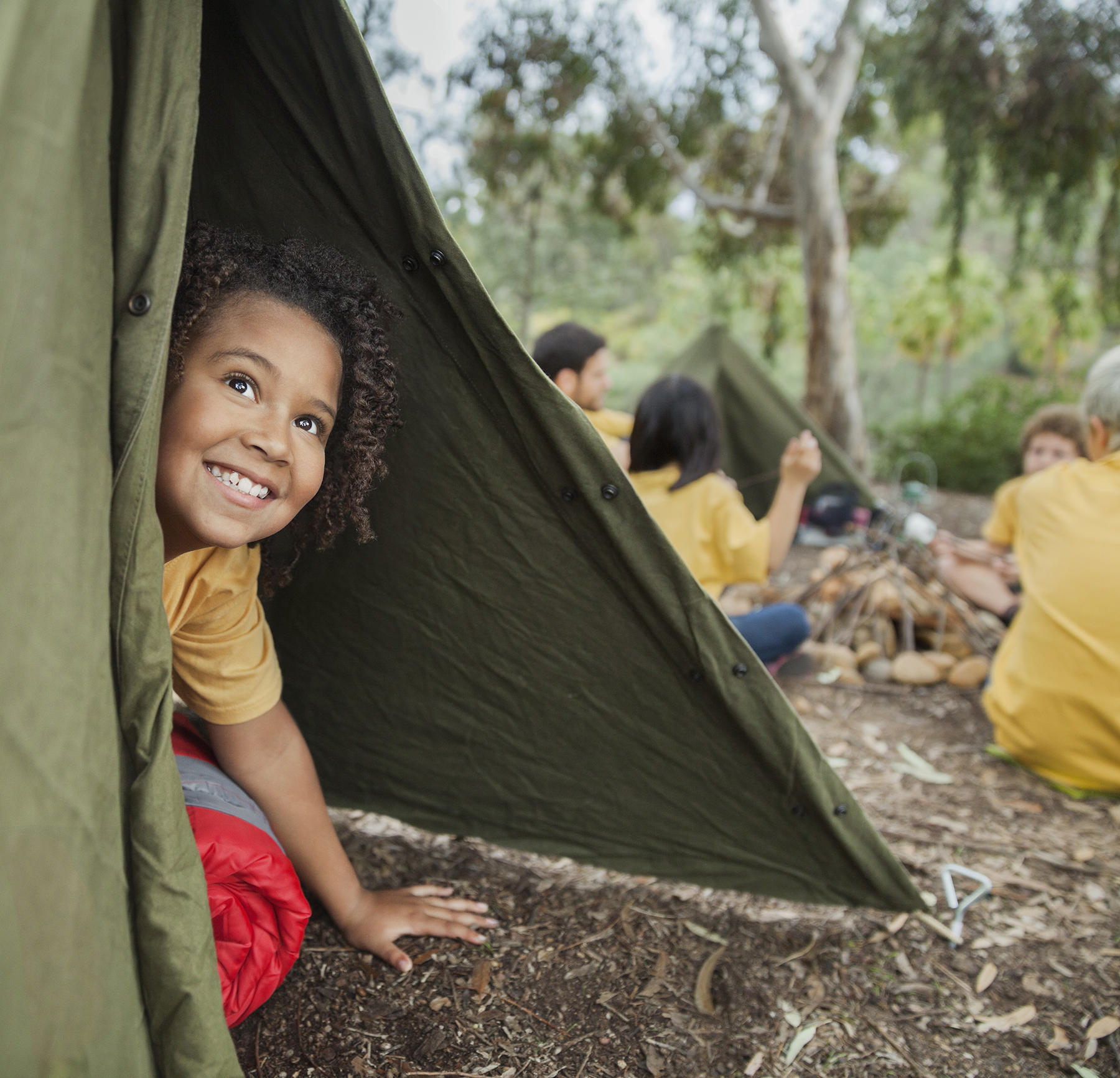Girl in Tent at Summer Camp