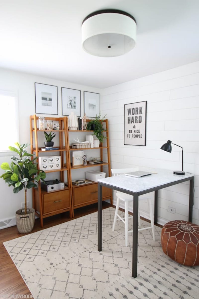 Home office with shiplap, shelves