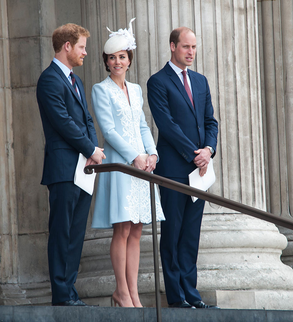 Prince Harry, Catherine, Duchess of Cambridge and Prince William, Duke of Cambridge attend a national service of thanksgiving to mark Queen Elizabeth II's 90th birthday