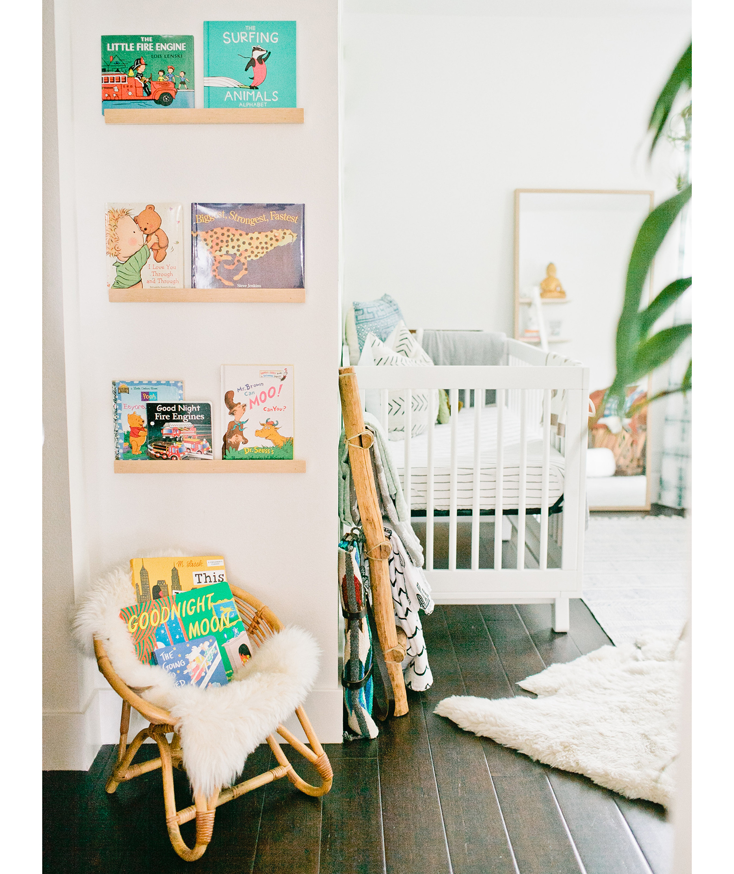 Nursery with books stored on wall