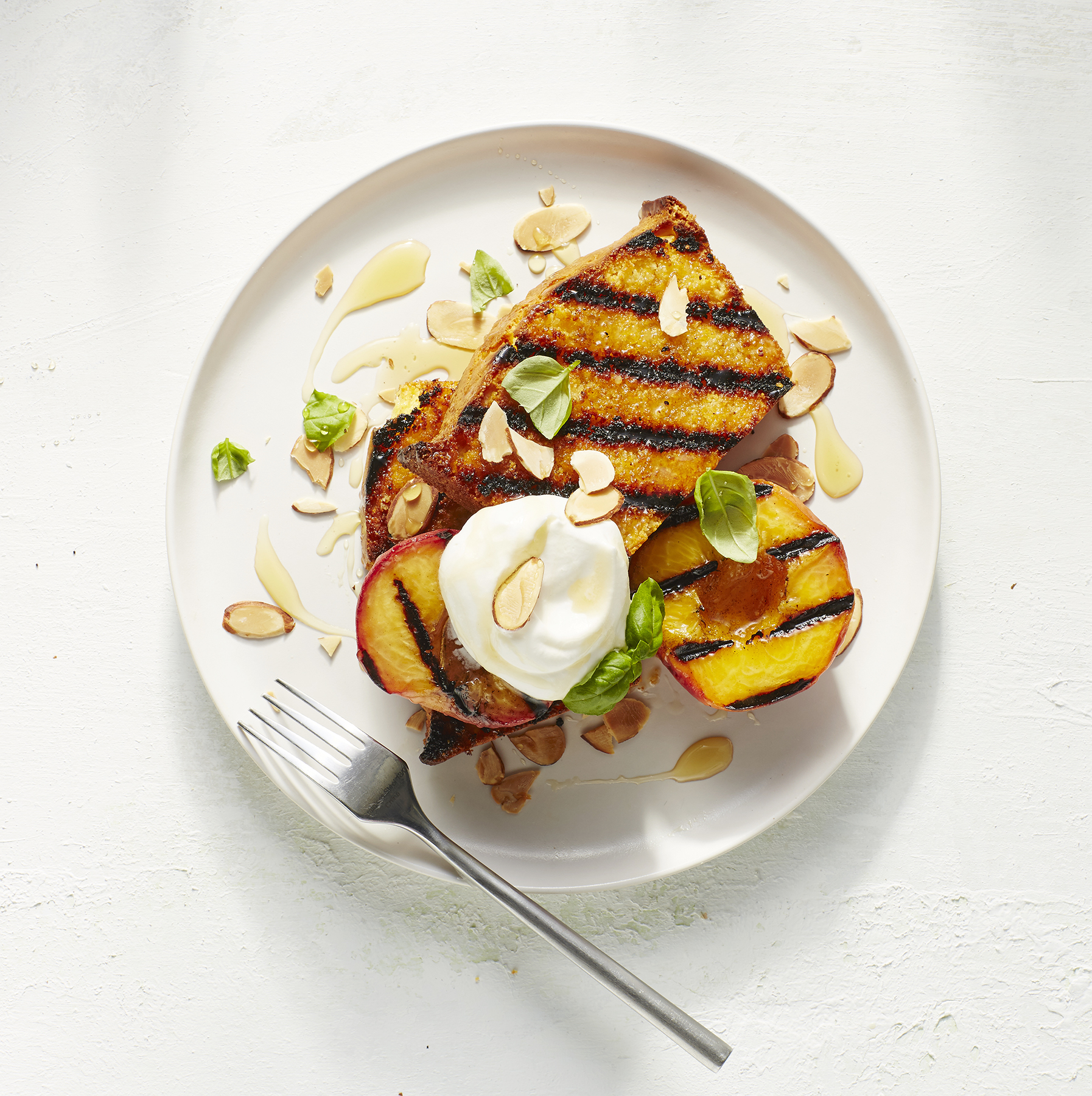 Grilled Cornbread and Peaches