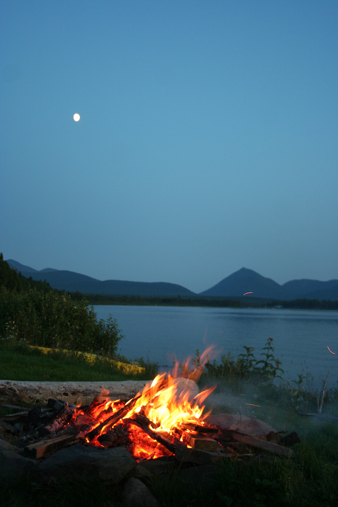 Campfire by the lake.