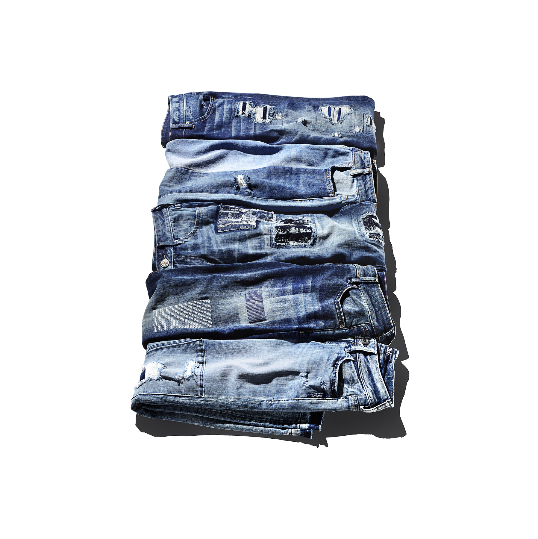 Jeans with polished patchwork