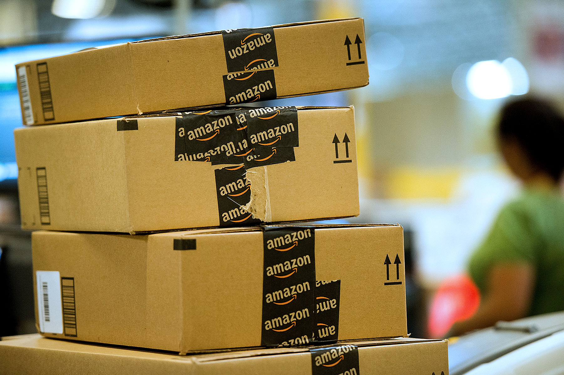 Amazon boxes at fulfillment center