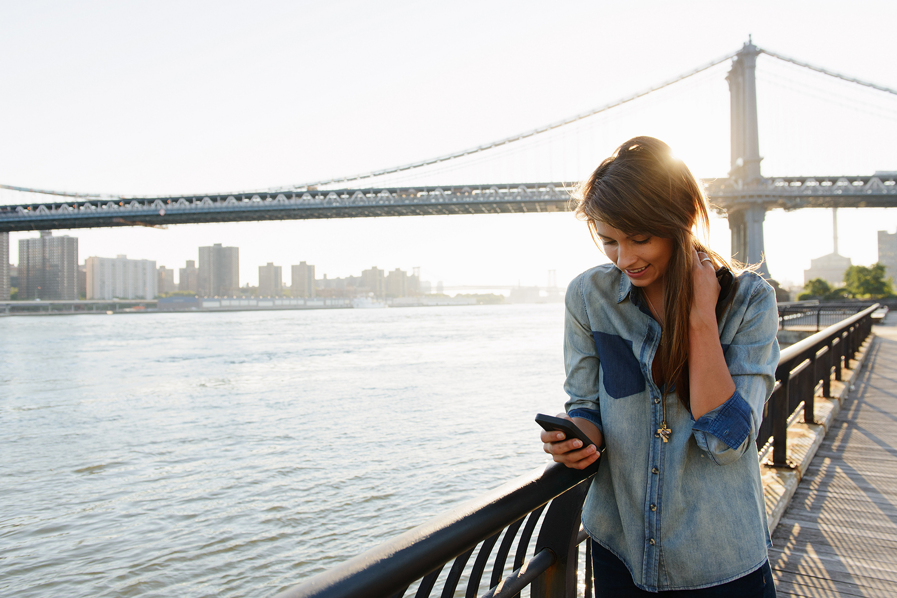Woman in NYC with smartphone