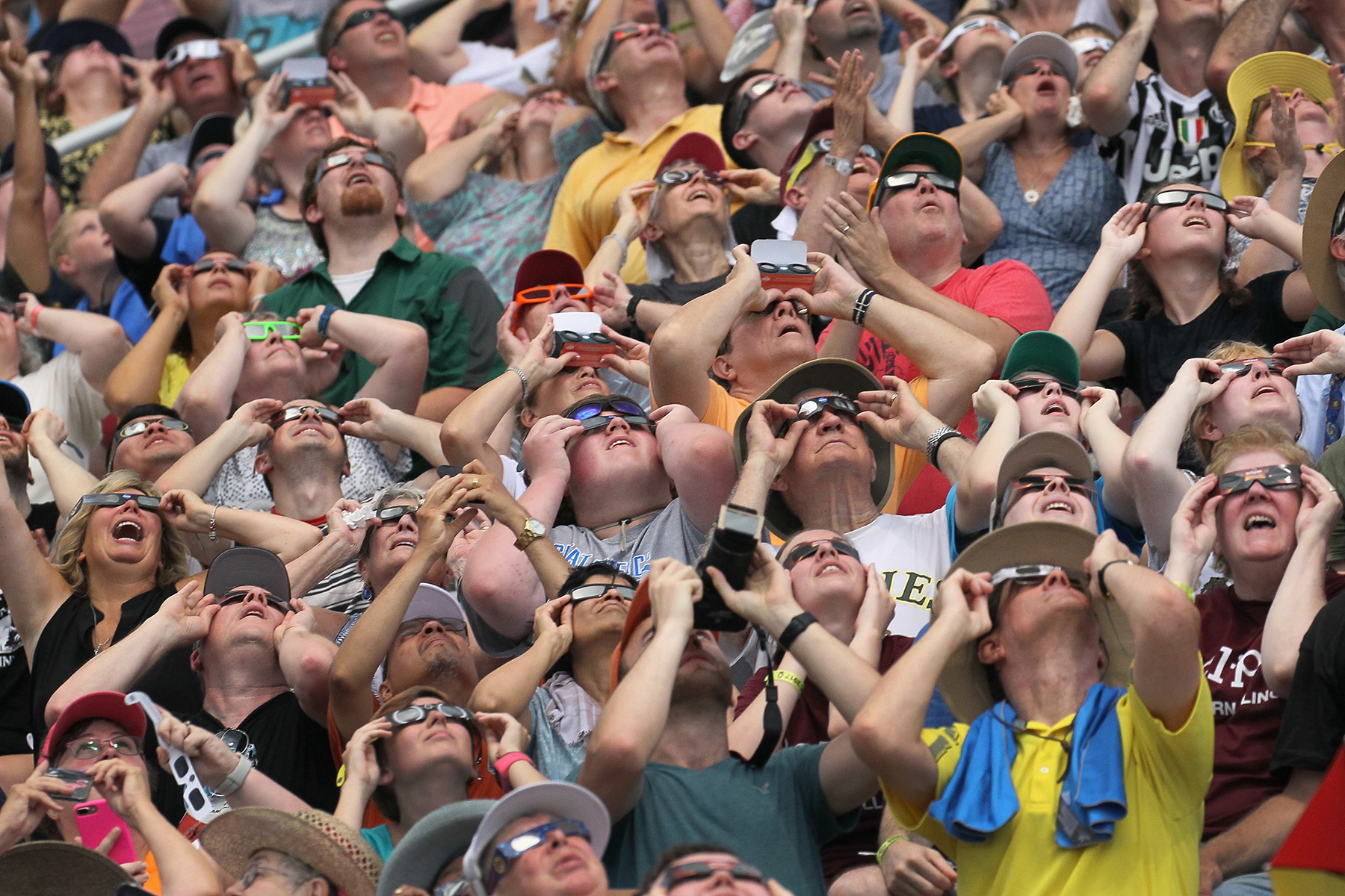 People watching solar eclipse, 2017