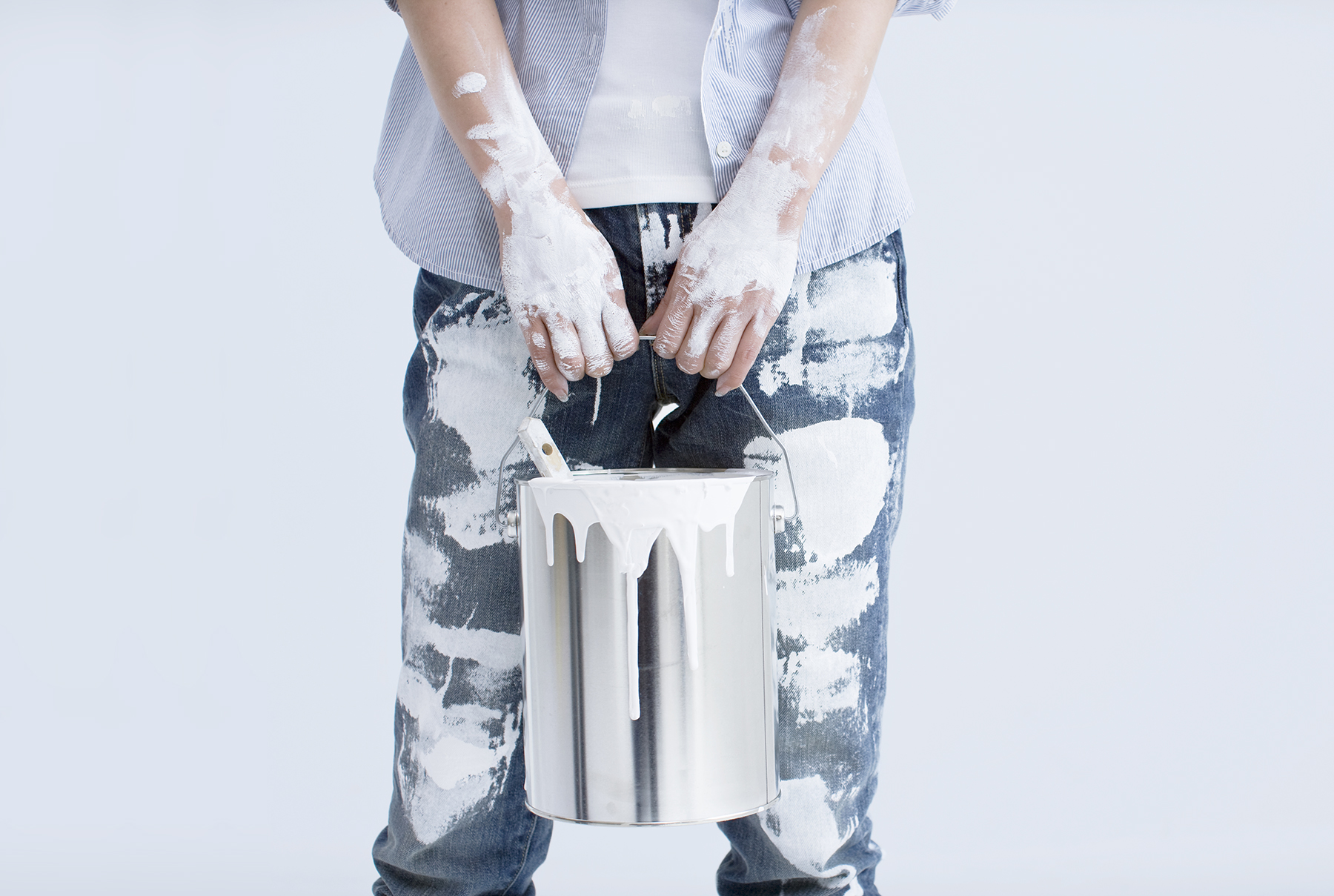 Woman covered in white paint