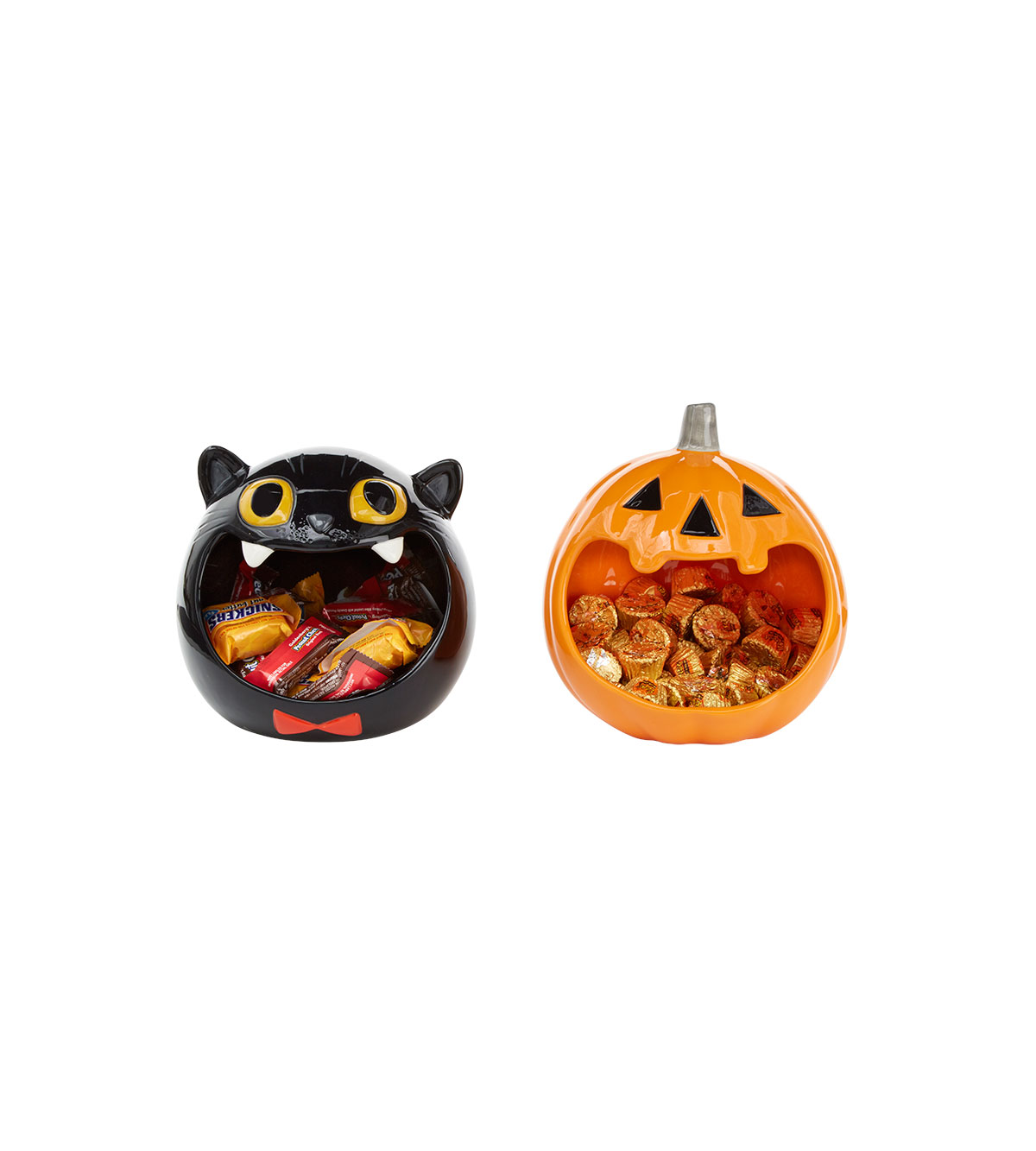 Ceramic Black Cat and Pumpkin Candy Bowls