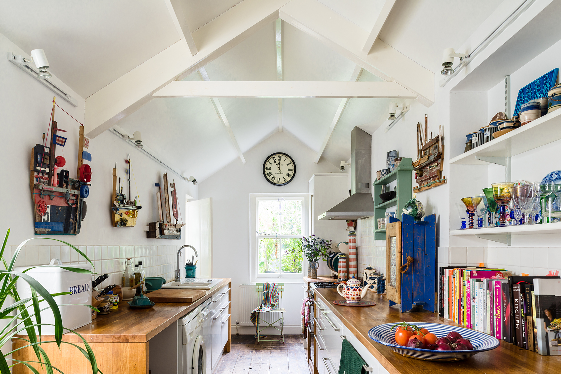 Large kitchen with wall clock