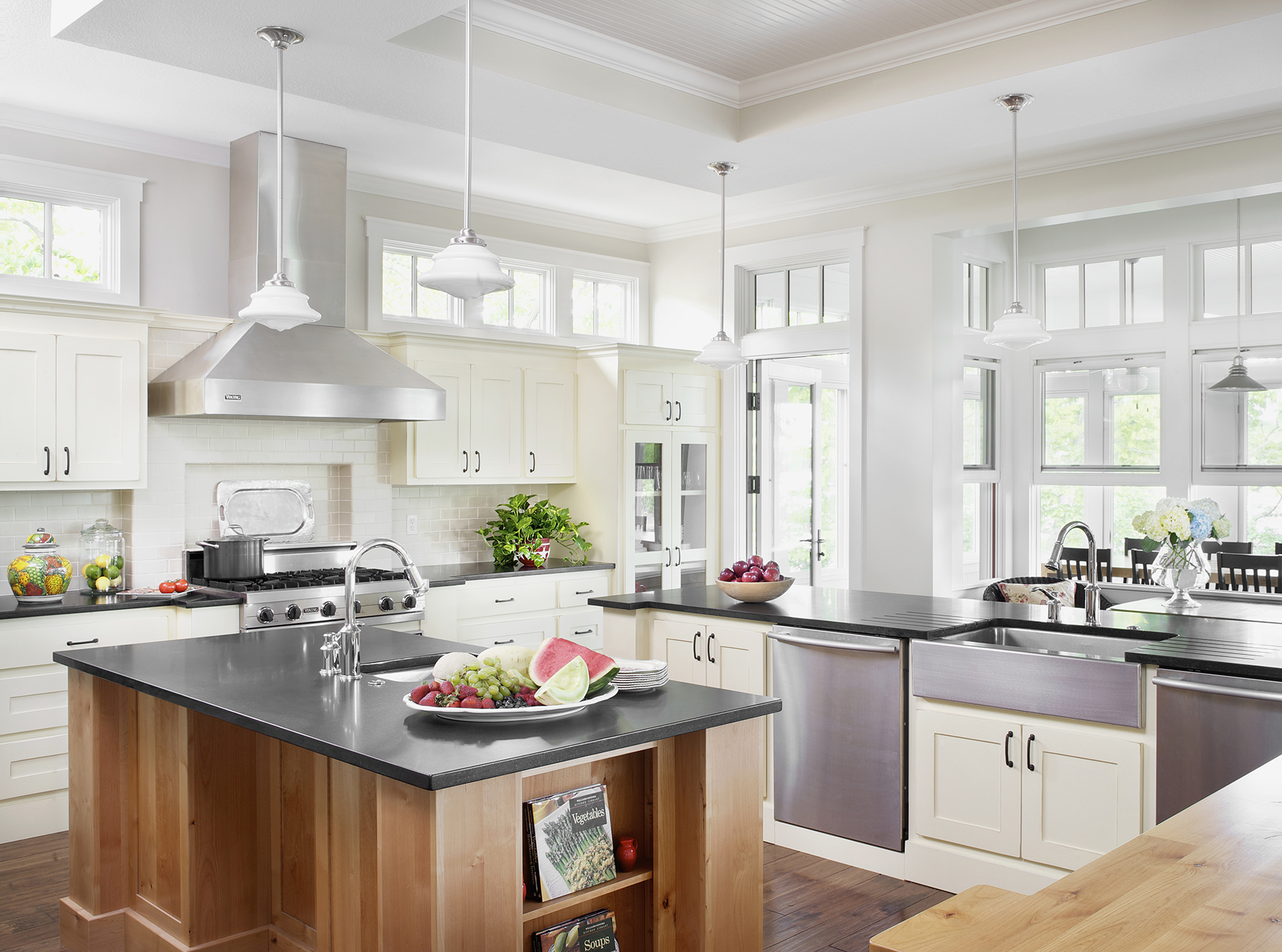 White kitchen with apron-front sink