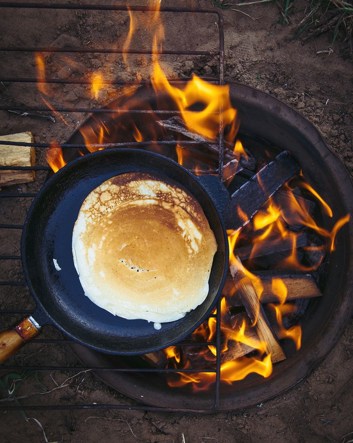 Pancake cooking on outdoor grill