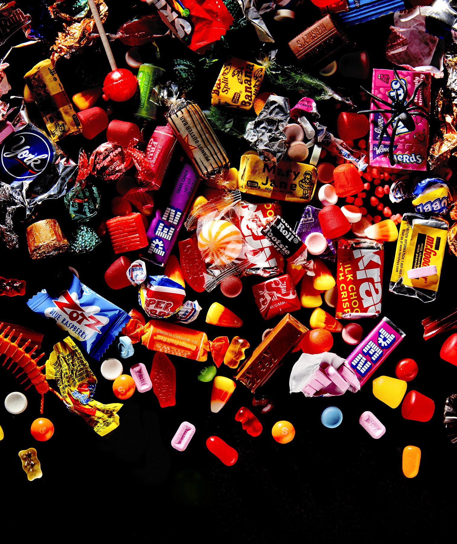Halloween candy on black background