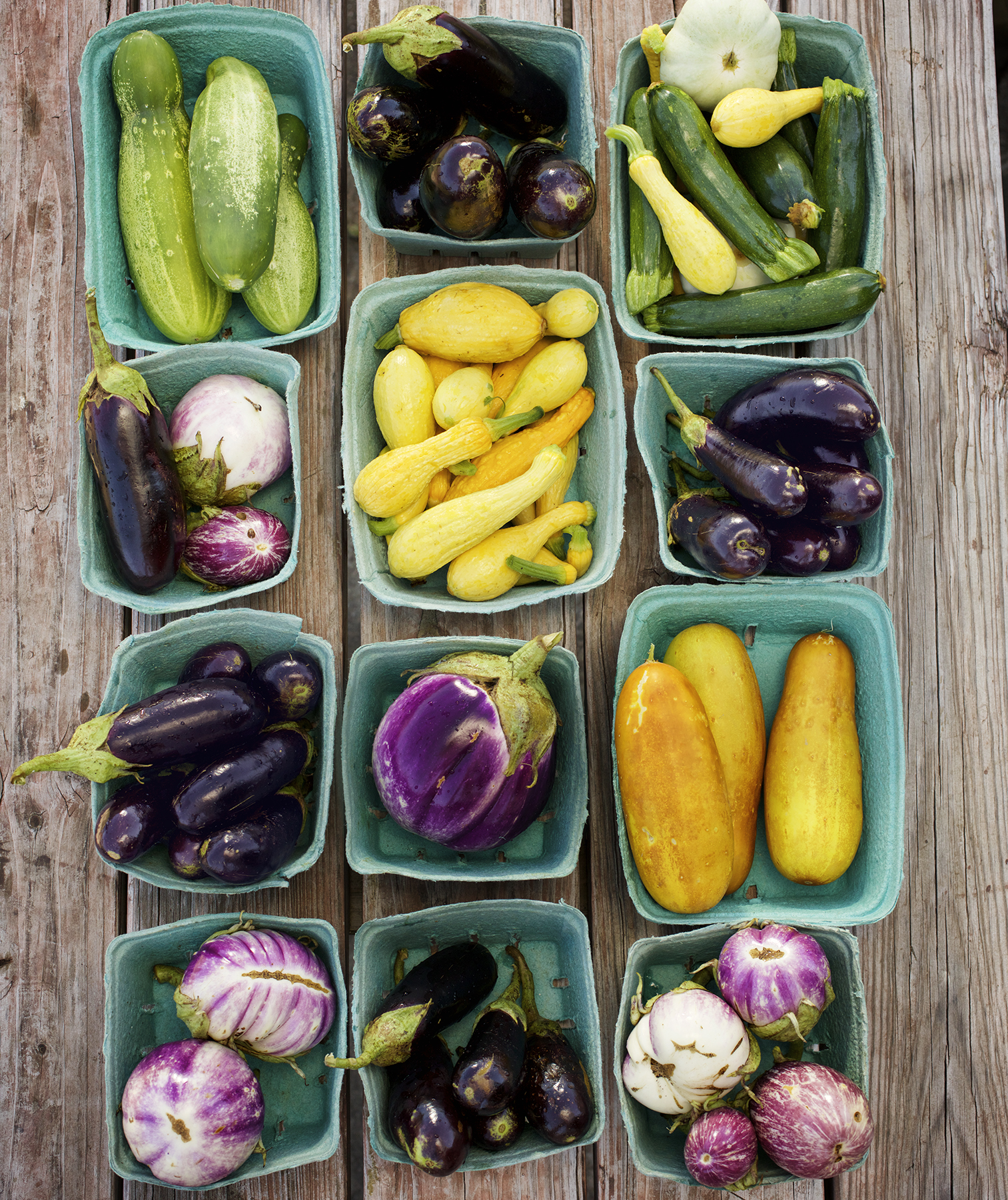Summer produce in small blue baskets