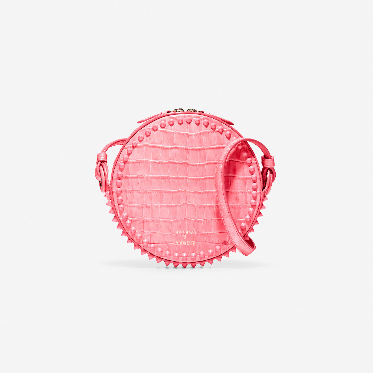 pink studded circle crossbody bag