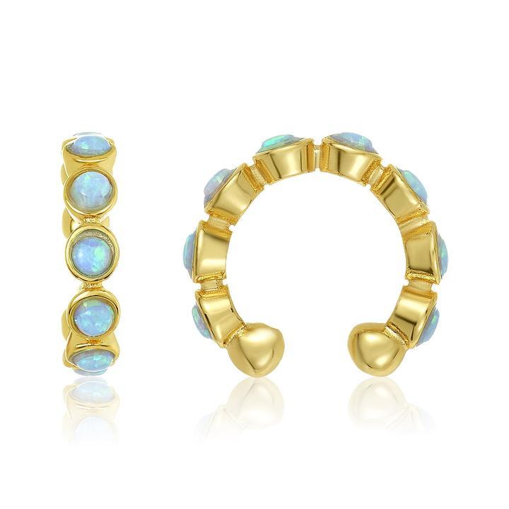 gold and opal earring ear cuff