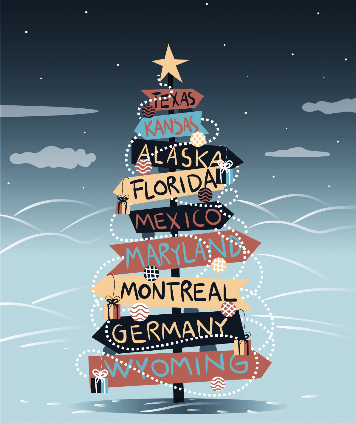 Illustration: Christmas tree with place signs