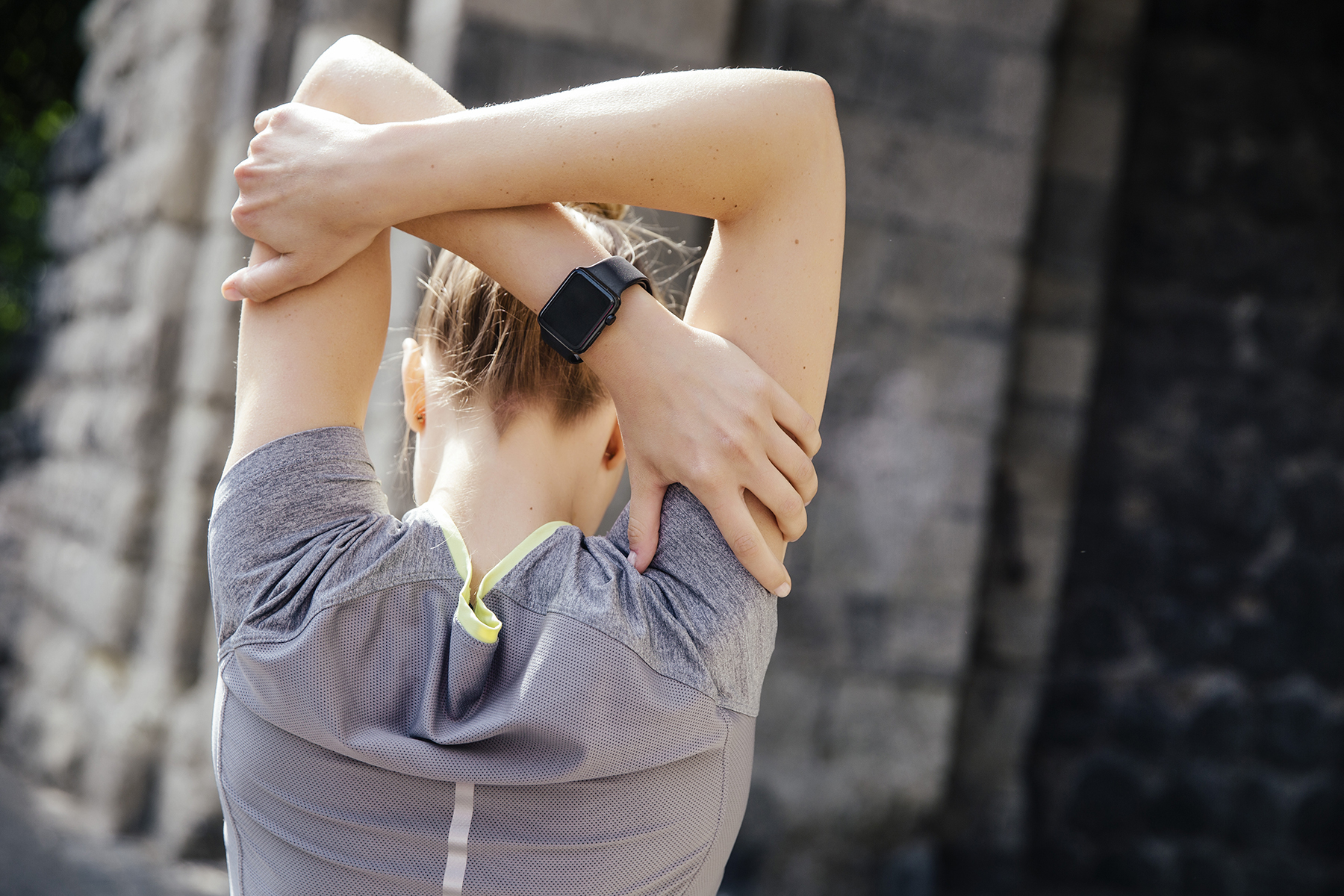 Woman stretching during workout