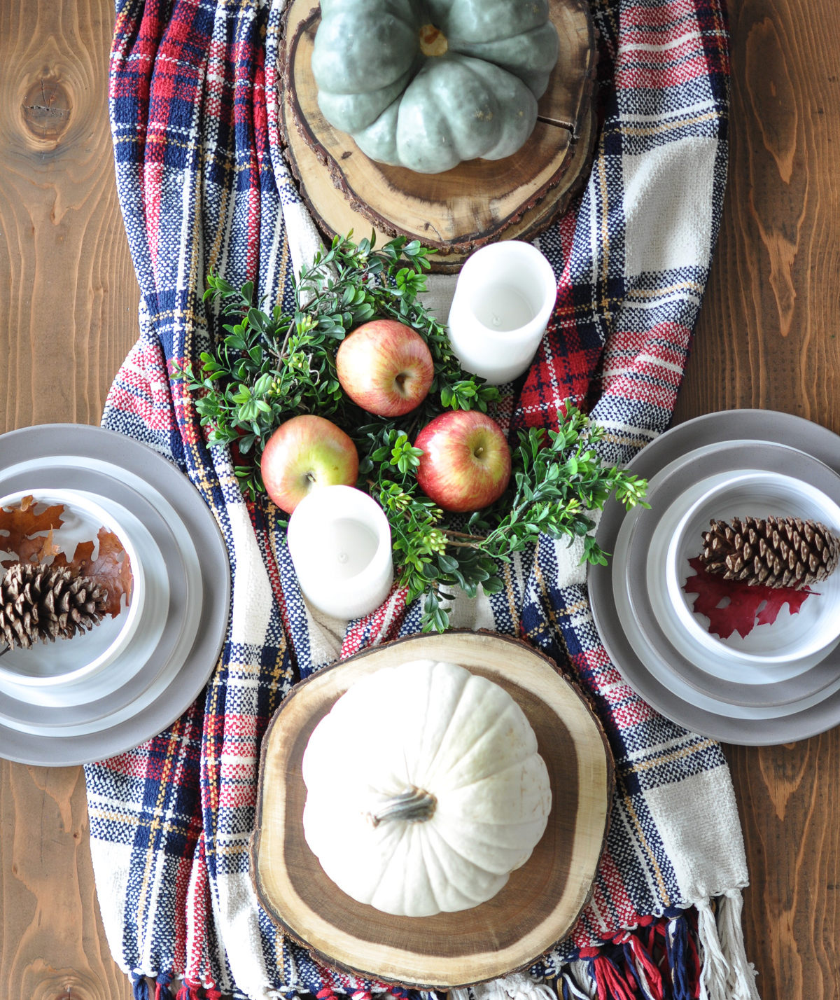 Plaid scarf as Thanksgiving table runner