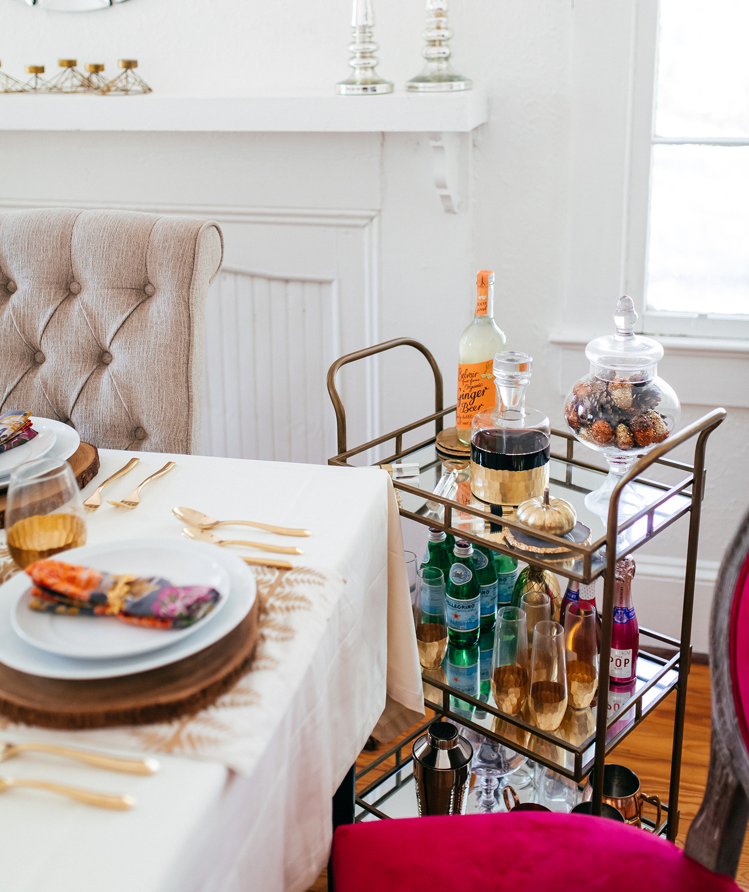 Thanksgiving table and bar cart