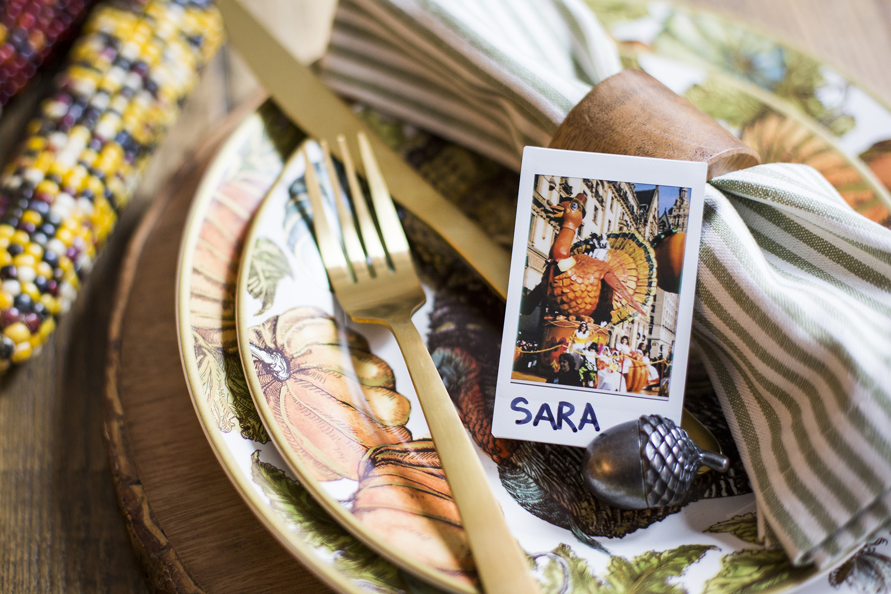 Thanksgiving place setting with Polaroid place card