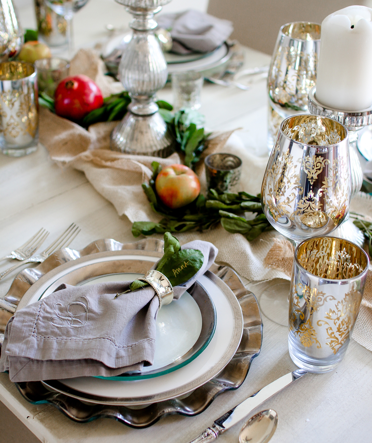 Thanksgiving place setting with personalized linen napkin