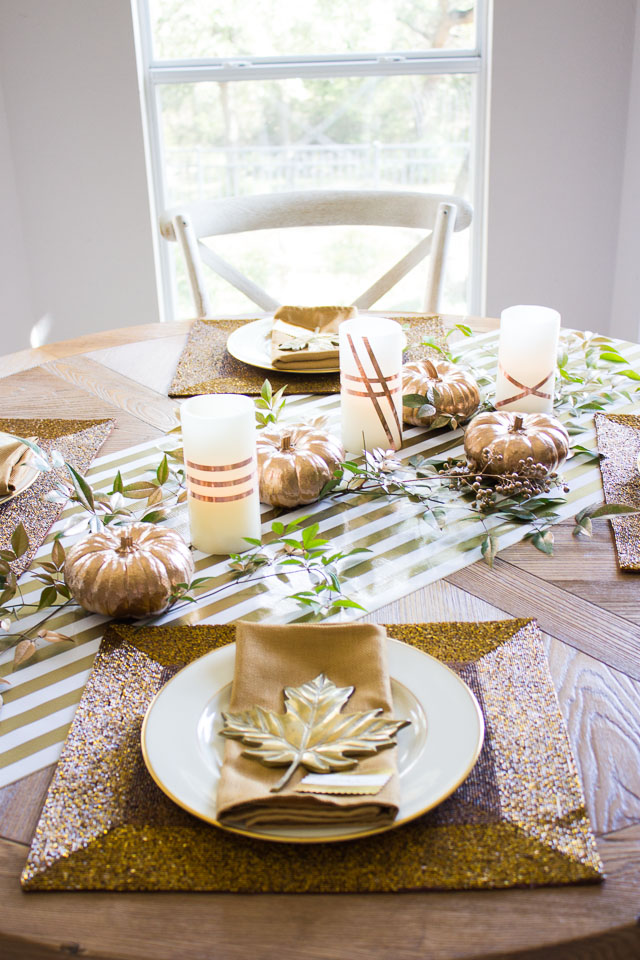 Thanksgiving table with pretty copper accents