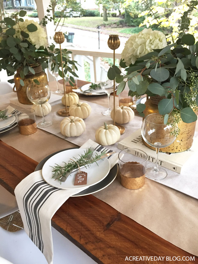 Thanksgiving table with French blue and white striped napkins