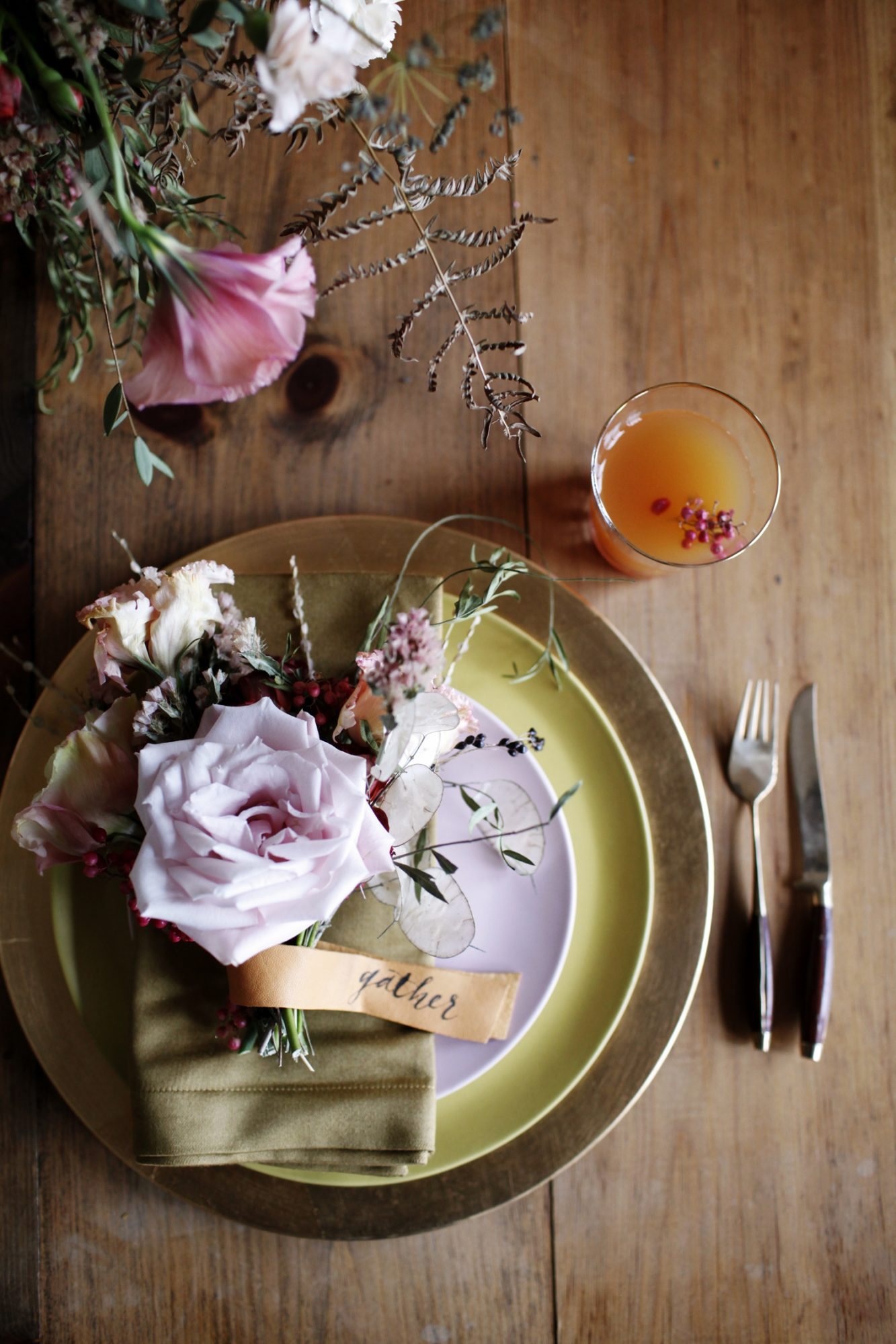 Pale pink and green Thanksgiving table setting