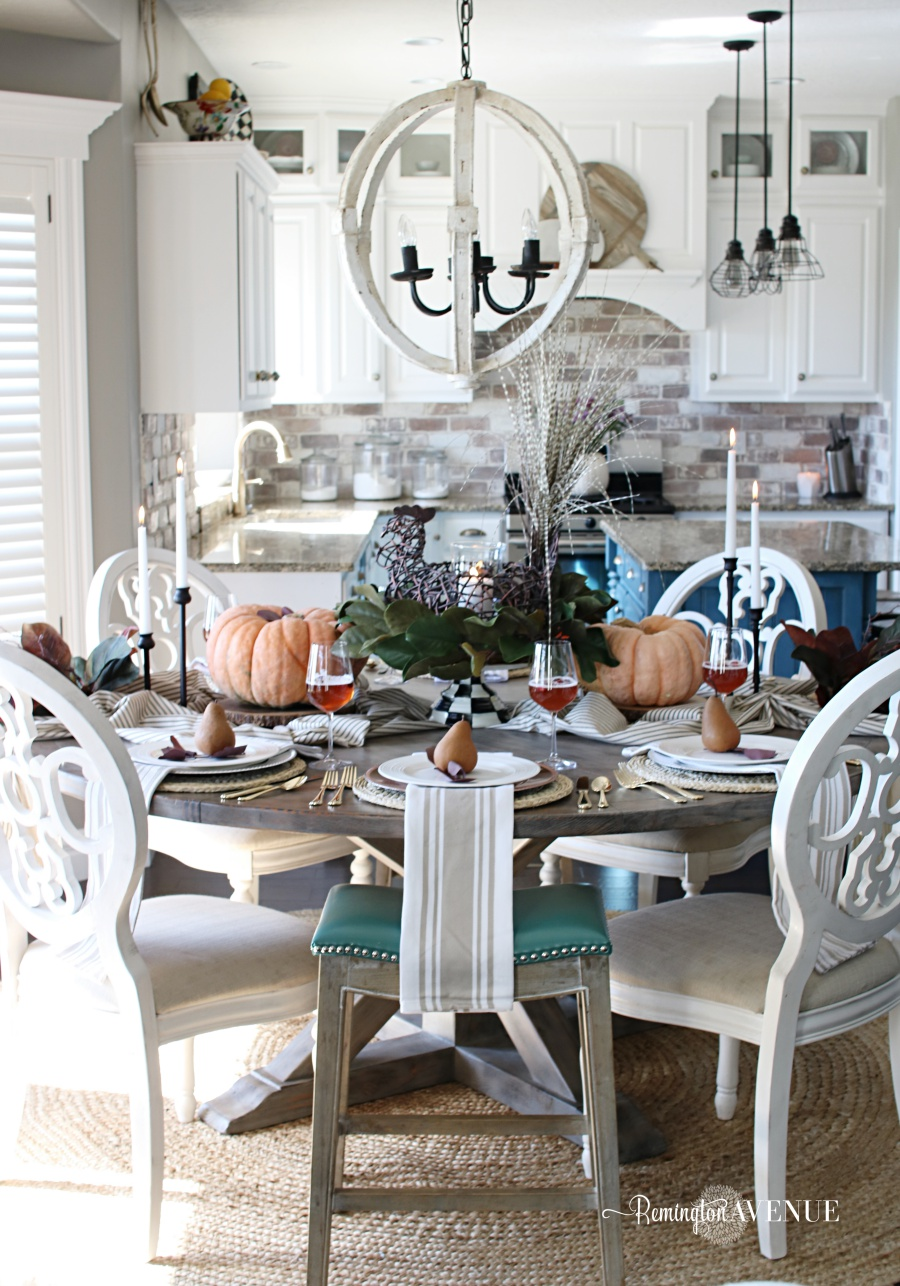 Thanksgiving table with pears at each place setting