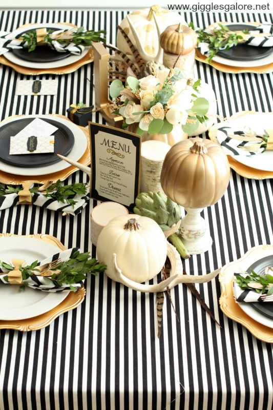 Thanksgiving table with stripes and gold accents