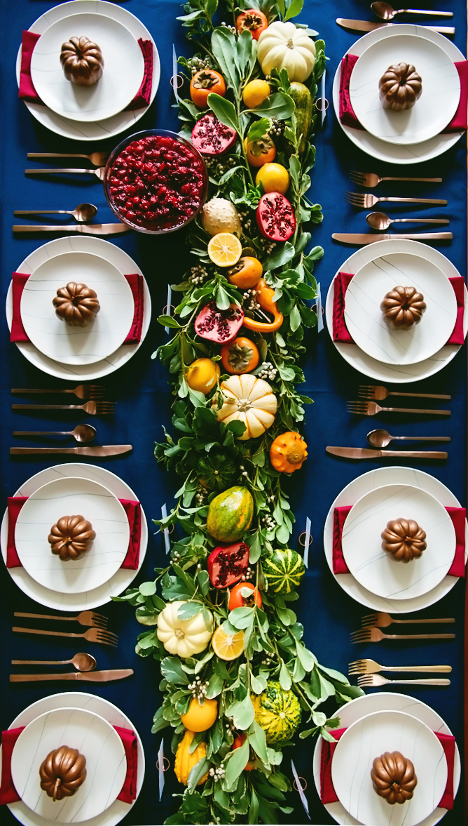 Thanksgiving table with long wreath down the center
