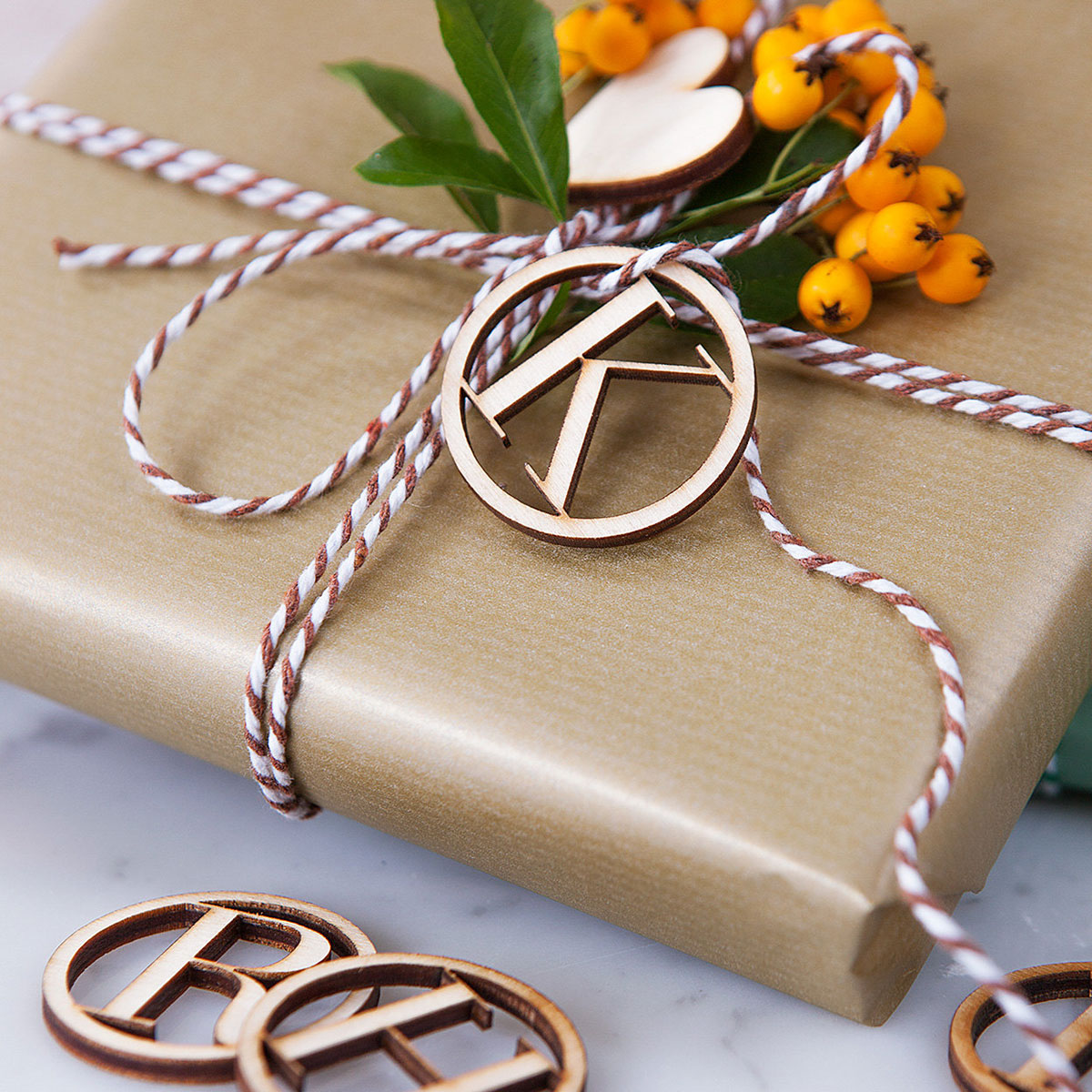 Initial Wooden Gift Tag