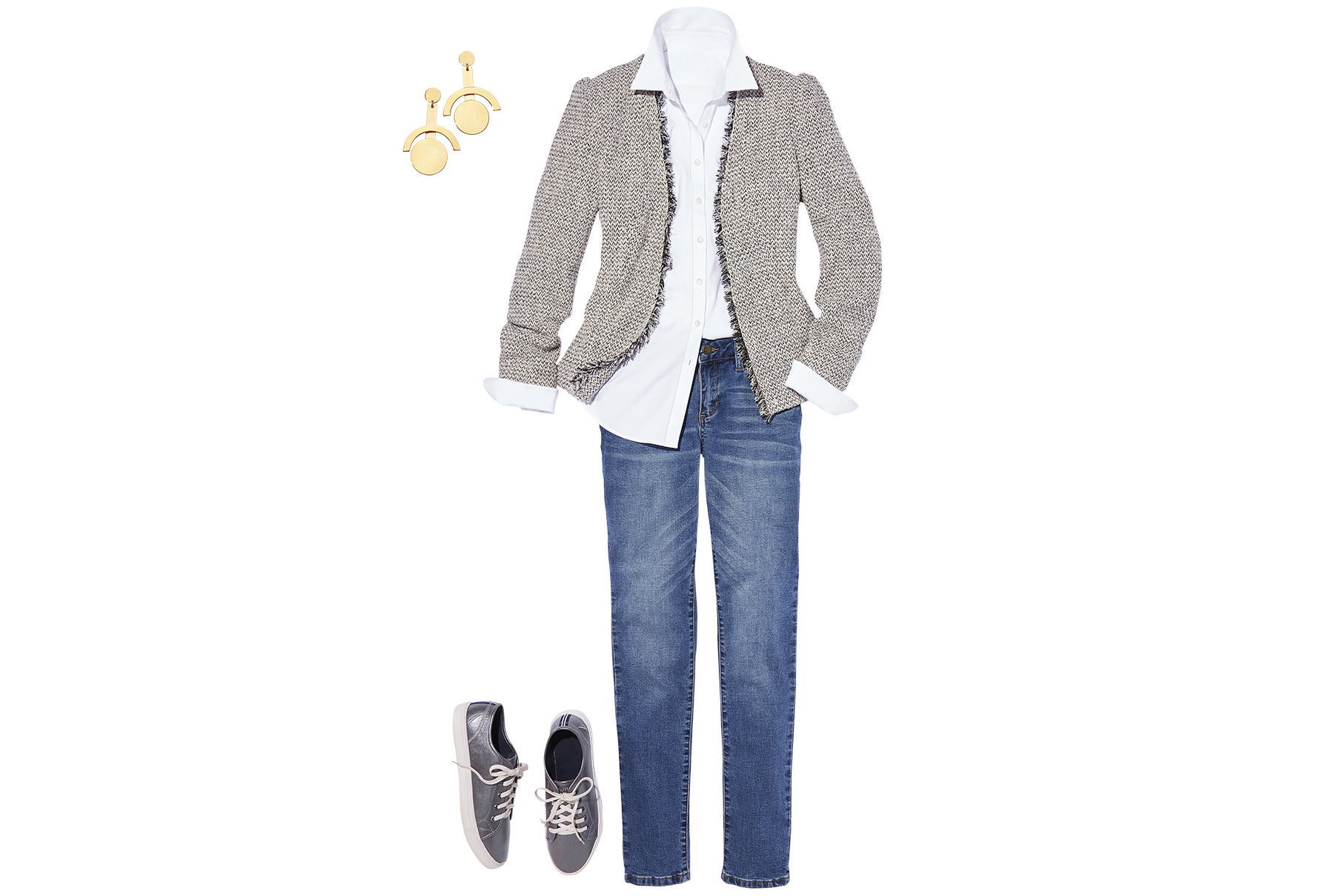 White shirt paired with sneakers, jeans, gold earrings