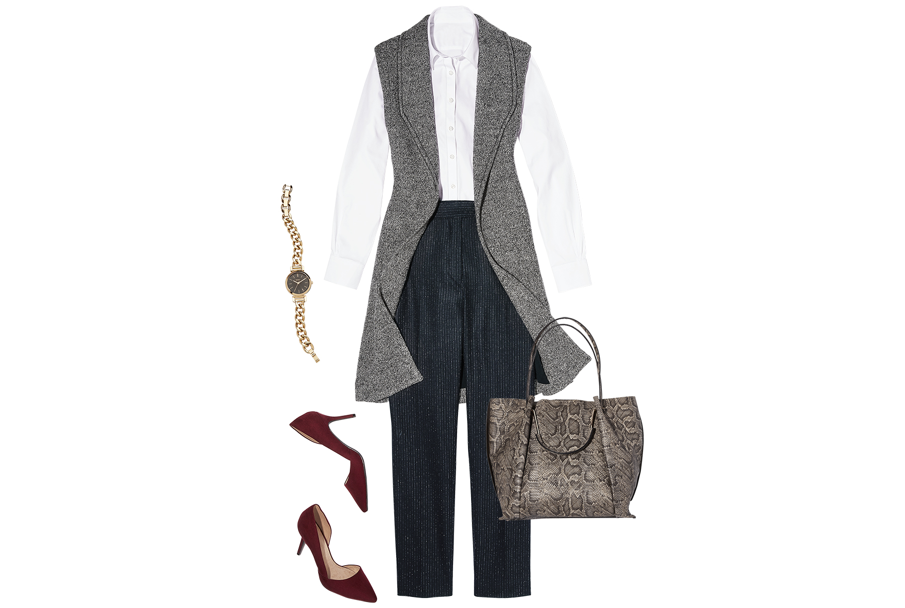 White shirt paired with long vest, trousers, suede pumps
