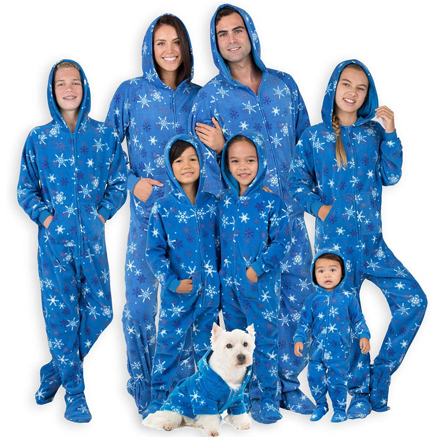Family Matching Snow Blizzard Footed/Hoodie Pajamas