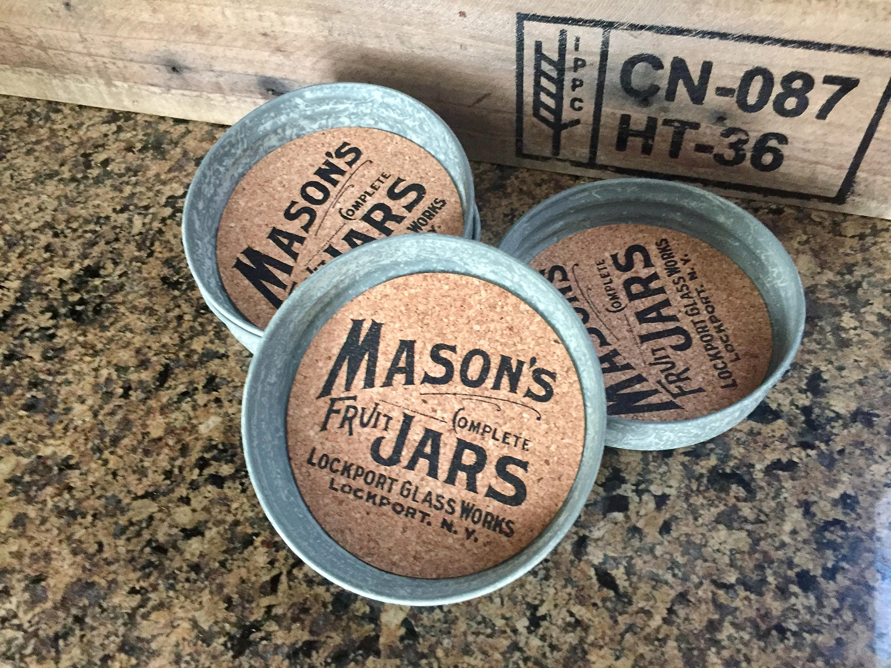 Mason Jar Coaster Set