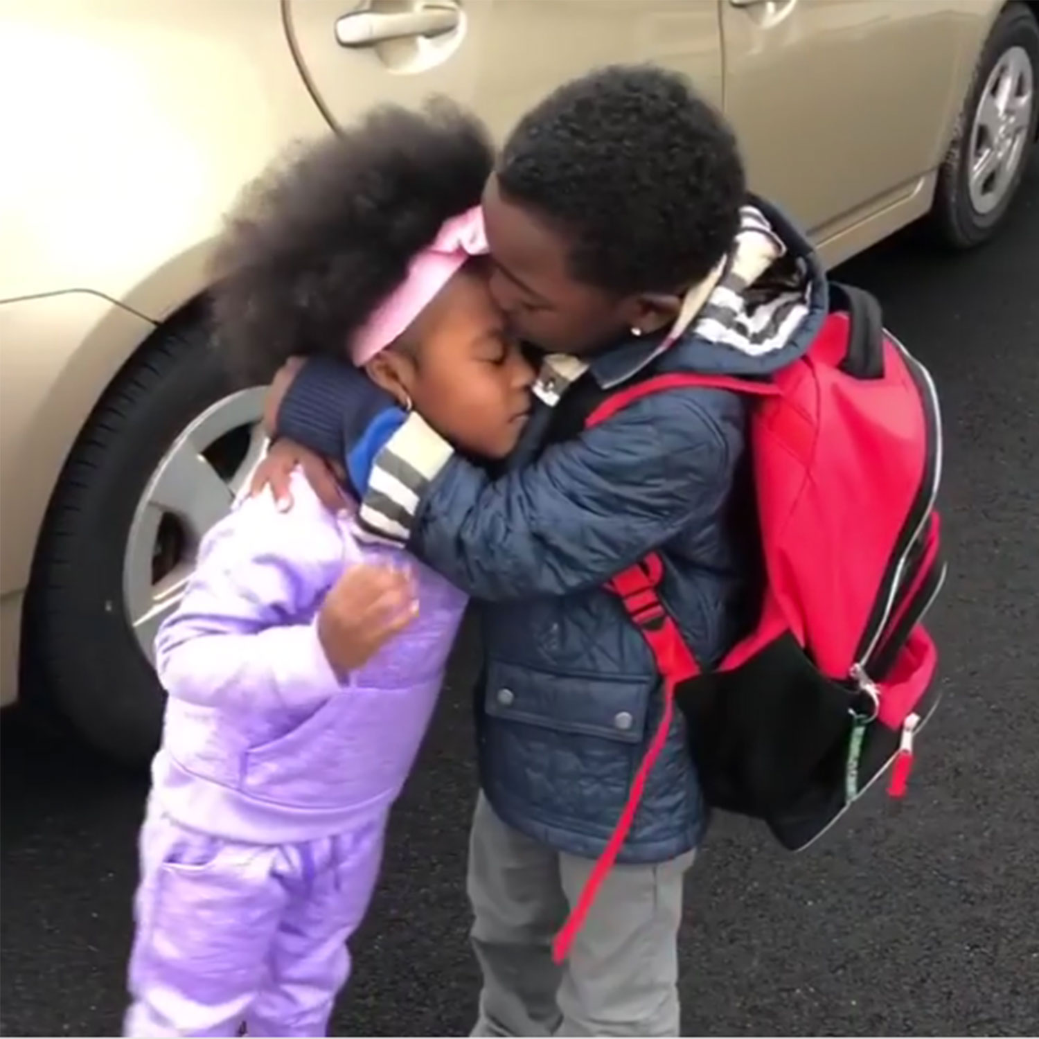Brother and Sister's Sweet Reunion After a Long Day of Kindergarten Will Make Your Week