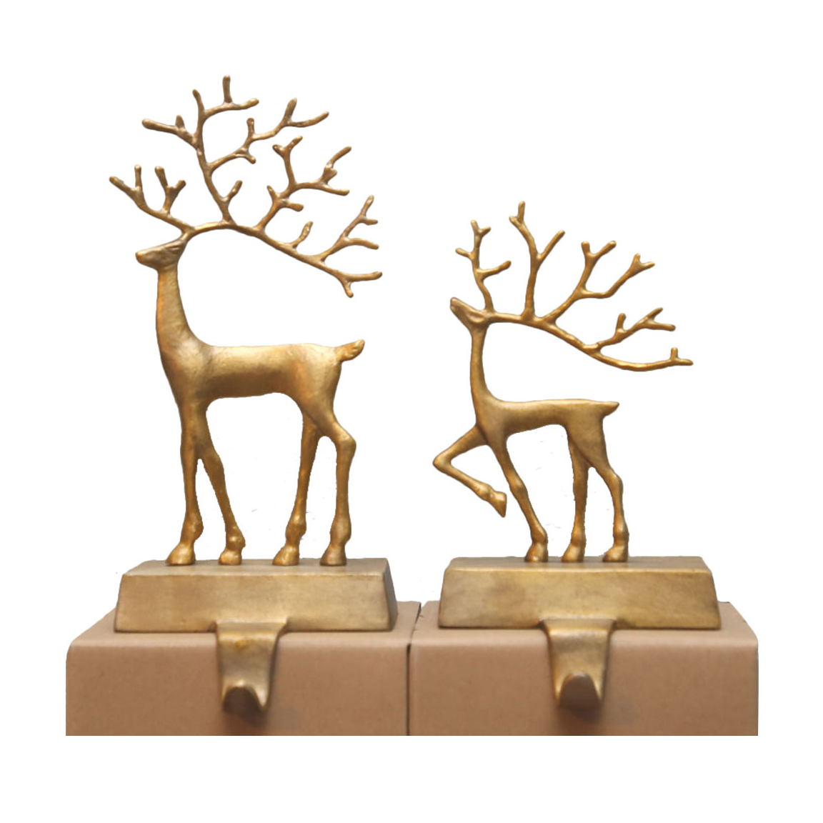 Christmas stocking holders - Pottery Barn Merry Reindeer Brass Stocking Holder Collection