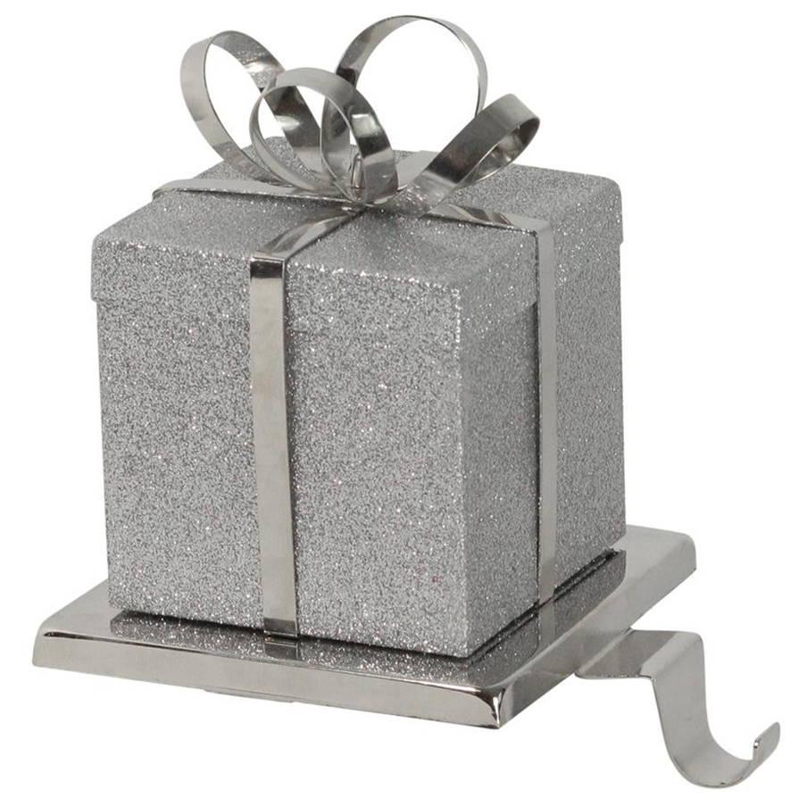 "Christmas stocking holders - Northlight 6"" Silver Glittered Gift Box with Bow Christmas Stocking Holder"