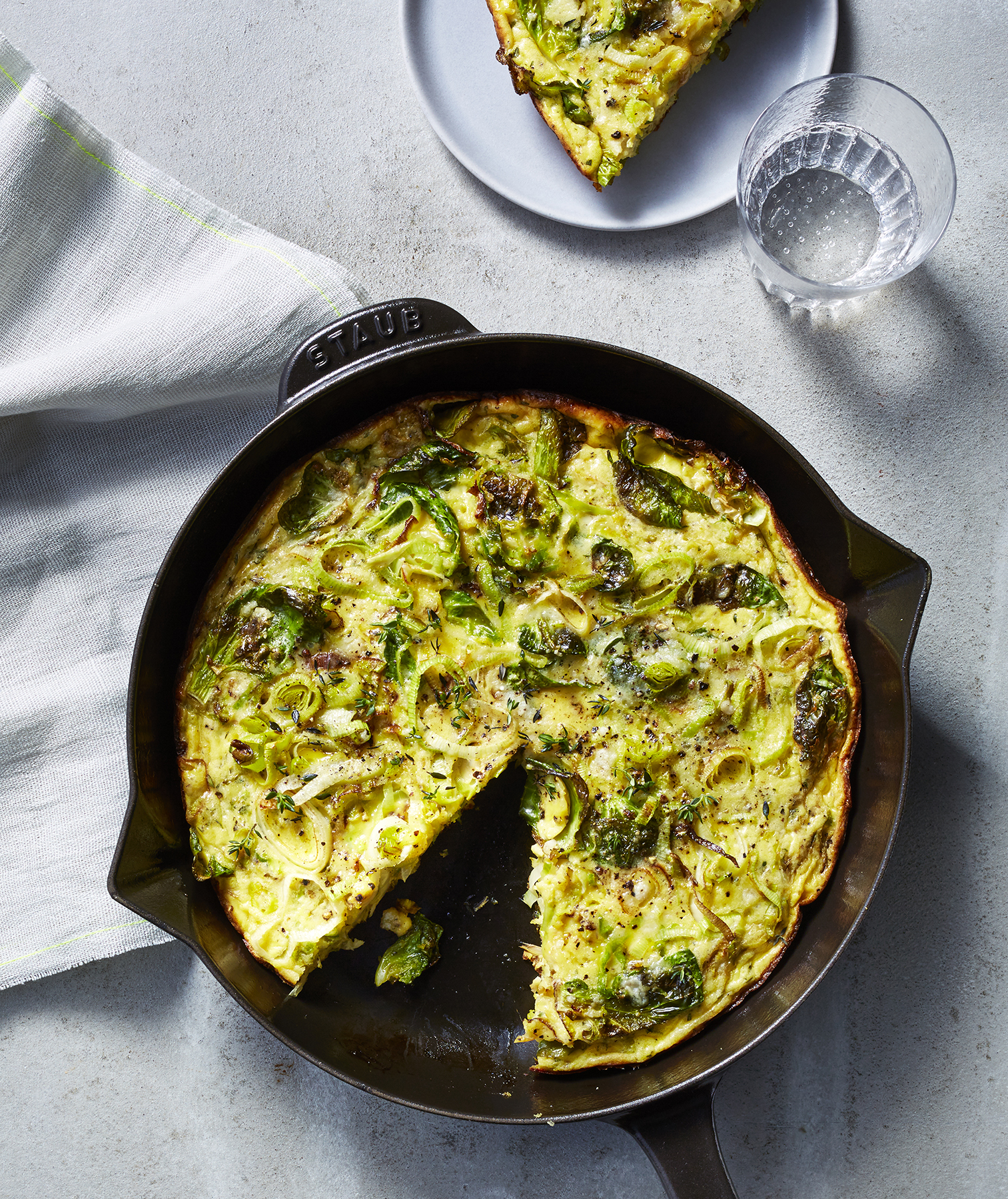 Garlic, Leek, and Brussels Sprouts Frittata